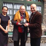 Invited Mr. Ruskin Bond for breakfast & requested him to relaunch my book. He obliged.:) #gratitude @RujutaDiwekar