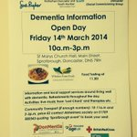 Find out more about #dementia in #doncasterisgreat on Fri 14 March at St Marys Church Hall, Sprotbrough. http://t.co/nIEuwSDmZO