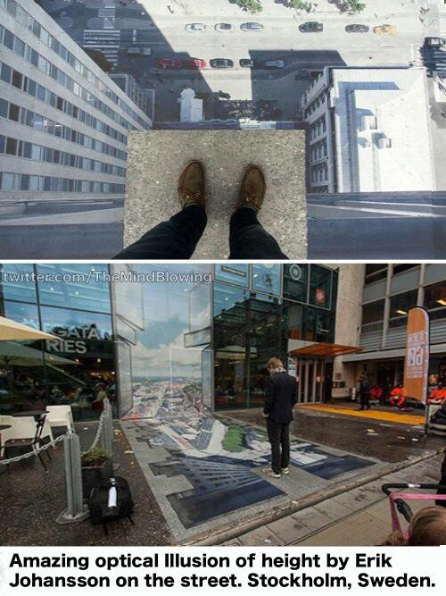 Amazing optical Illusion of height by Erik Johansson on the street. Stockholm, Sweden. http://t.co/hqdHeWTm42