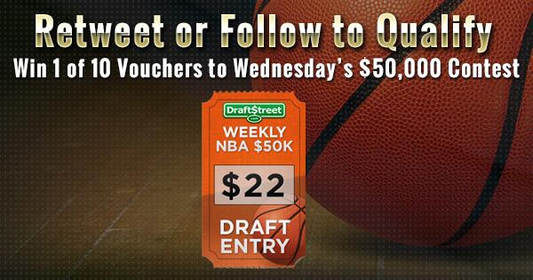 Retweet or follow to win 1 of 10 FREE vouchers into our $50K fantasy #NBA contest http://t.co/Dz0iomKwaf $22 value! http://t.co/jxkCeLajkK
