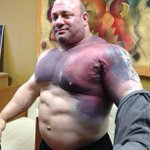 Scott Mendelson after he tore his pec breaking the world record bench press... http://t.co/dWSE3r3YAO