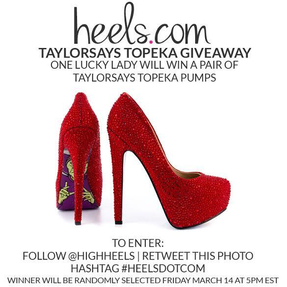 "Enter to #WIN a pair of #HEELSDOTCOM @TaylorSays ""Topeka""! Follow instructions in picture to win. #GoodLuck! http://t.co/qsZoTlgvke"
