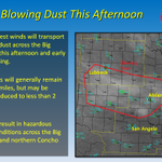 Blowing #dust is making an appearance in the Big Country today. Visibility may be reduced to 2 miles at times. #txwx http://t.co/rVVZOX6xpO