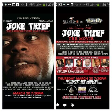 March 20th the premier of my movie Joke Thief in Hollywood get your tix at http://t.co/p64A8NZLqv http://t.co/2K5evLqq8f