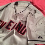 It wasnt easy but I de-chiefed my @Indians road jersey. Ready for Goodyear tomorrow http://t.co/gcLJ0CQ5lx