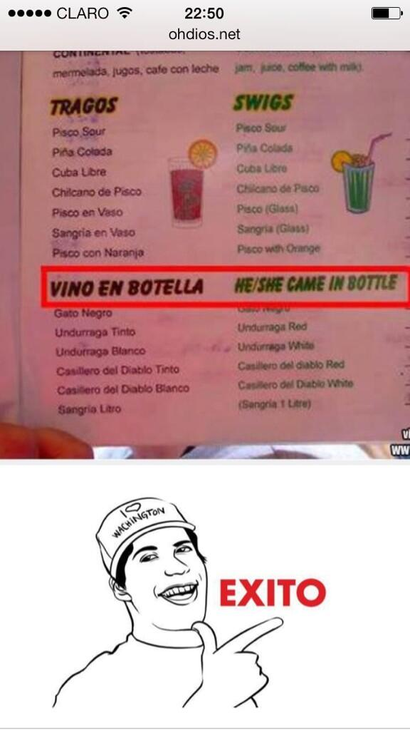 Vino en botella. She/he came in bottle. http://t.co/cdwwWsniFu