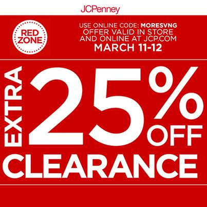 Hello, @jcpenney—get an extra 25% off clearance. Use online code: MORESVNG. Offer valid in-store & online 3/11-12. http://t.co/lEaaCtf582