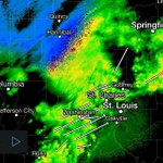 Showers and storms continue to push through metro #STL... Radar showing wintry precip to our north. #stlwx http://t.co/rV16MqOX7I