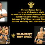 Dont forget to come to the Davis Arena as @ovwrestling Owner Danny Davis makes a huge announcement! Wed. Mar. 12 7PM http://t.co/dqwCxOsuxP