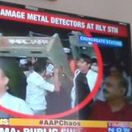 AAP supporters damaged Metal detector in Churchgate Mumbai because it detected mental? #KejriwalInMumbai http://t.co/c1C6u8rhwG""