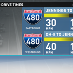 Current drive times on I-480. Expect about a 10 minute delay on both I-480 EB/WB. @wkyc http://t.co/rJYhfRdxFl