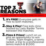 RT @dinahgoodson: Top 3 Reasons you should bring the kids out to Texas Tech Tennis this Sunday. #WreckEm http://t.co/8qJVAudwk5