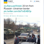 RT @andrewsweiss: Unconfirmed: alleged tweet from Belgorod oblast showing Russian tanks 20KM from #Ukraine border. http://t.co/s2twv7ISIX via @tvrain