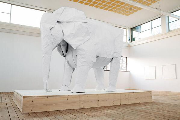 A Life-Size Origami Elephant Folded from a Single Sheet of 50 ft x 50 ft Paper http://t.co/yj3RCR1ICi http://t.co/o2bmy4ssQ2