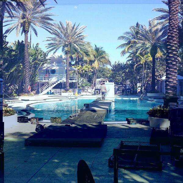 BEFORE: Readying the runway in #Miami. Our #EXPRunway show is happening over a pool. Boom.