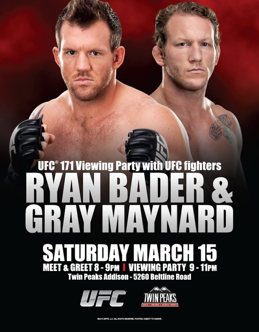 Couldn't get tix to #UFC171? Head to this Viewing Party w/ @ryanbader & @GrayMaynard 3/15! Meet & Greet starts @ 8pm! http://t.co/2nss11NW8H