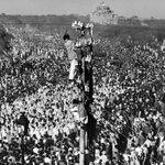 1948 :: Mammoth crowd of mourners at funeral procession of Mahatma Gandhi (via LIFE ) http://t.co/lBm5KeQffB