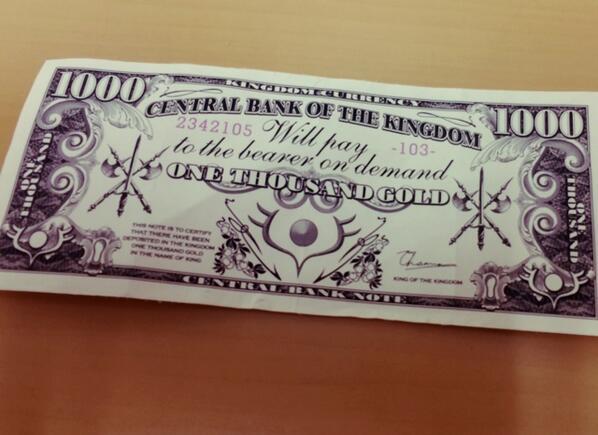 友人(@_olo_ )が作ってくれた戦勇をモチーフにした架空紙幣が届いた
