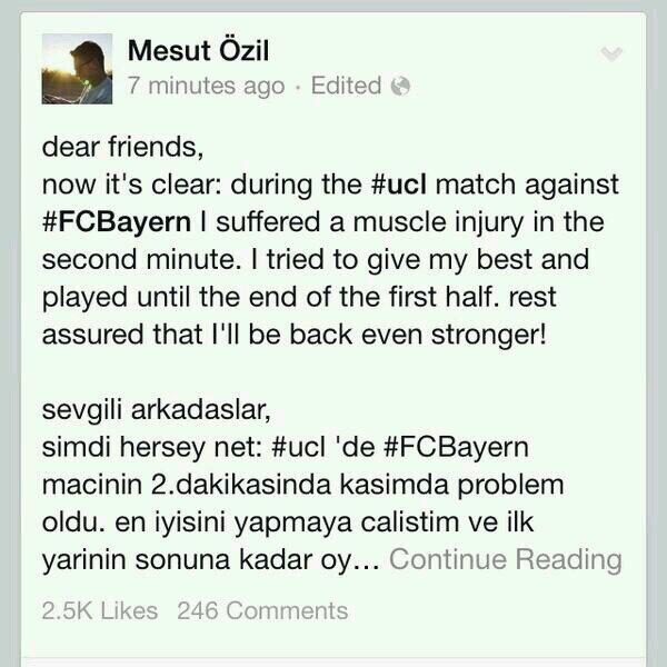 BinGBYoIUAA5SEI Arsenal record signing Mesut Ozil posts injury update & message to fans on Facebook [Picture]