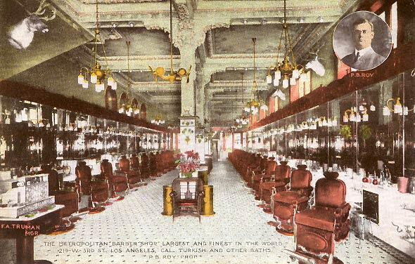 Los Angeles,1908 The Metropolitan Barber Shop - The most expensive and largest barbershop in the world!  #tbt http://t.co/PZUIWyruvx