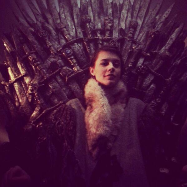 Morgan Hoffman (@morganhoff): Shooting Game of Thrones promos for Season 4! Move over King Joffrey. #QueenMorgan #GameofThrones #IronThrone http://t.co/nM1ybEMppL