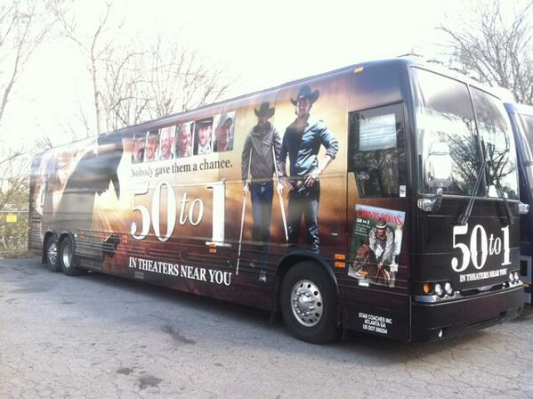 The folks from @50to1themovie are hitting the road, we're honored to be a part (check out the door). http://t.co/ovgvNvMNXv