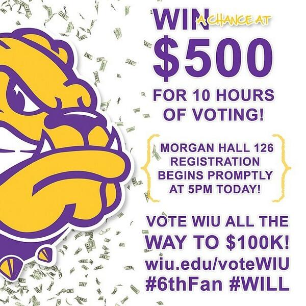 WIU students, still voting #6thFan #WILL? Get some $$ for it! Visit http://t.co/9mmJvls7Hx to learn how! http://t.co/Bj9IXExaUS
