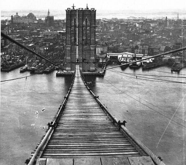#TBT While meant for work crews, this footpath was also open to the public during construction of the #BrooklynBridge http://t.co/TmGEZbkA5e