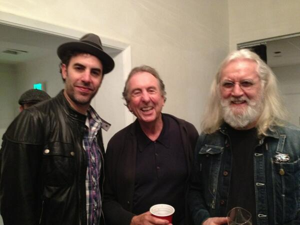 Billy Connolly, Sacha Baron Cohen and Eric Idle at Billy's amazing LA show. He's back on form - standing ovations! http://t.co/ISnhJaT6Cw