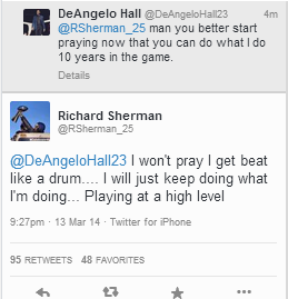 I don't ever get involved commenting on these player Twitter-schisms, but this comeback from Sherman is pretty good: http://t.co/FG9lt72amA