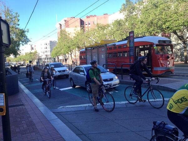 #SF Market St 12 bikes/40 people on streetcar use the same space as 2 cars!  http://t.co/c3joXPejth Via .@timpapandreou: