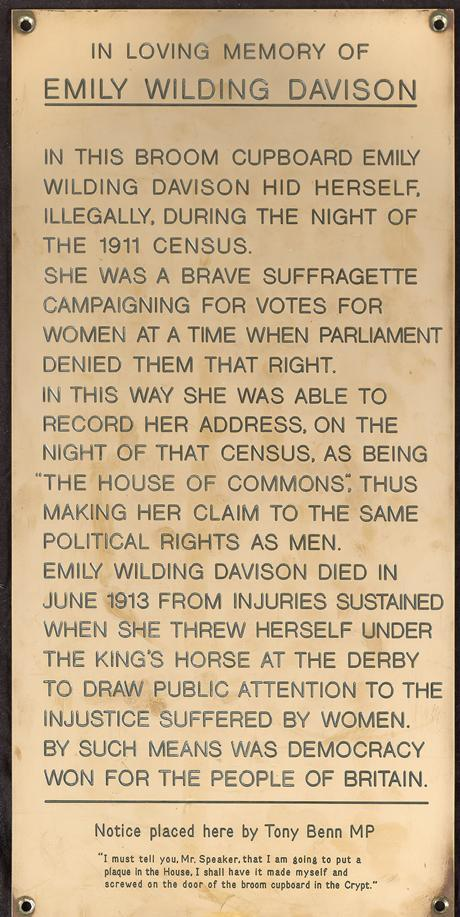Tony Benn put a memorial to Emily Davison in a Parliament broom cupboard http://t.co/aiixfE4AeW via @FeministPics @Independent #publicnotice