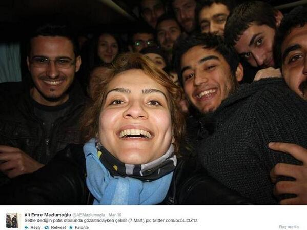 Turkey protesters take 'Ellen selfie' from the back of a police van http://t.co/g8eobK38UO http://t.co/tqtu0ohX4a via @Independent: