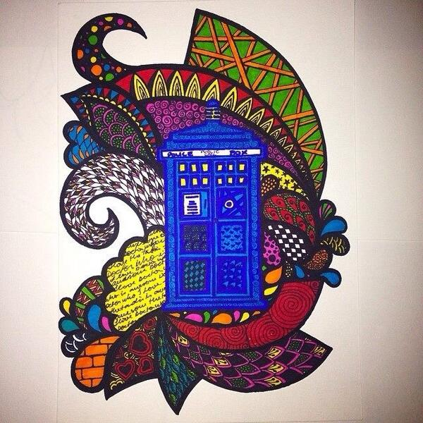 My #zentangle #TARDIS made with #sharpies <3 #DoctorWho #Whovians #whovian #art #artsy #drawing :) http://t.co/uYN4xceBWW