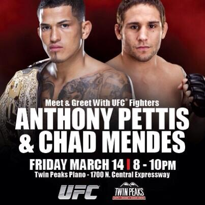 We can't wait to hang with @chadmendes & @Showtimepettis tonight in Plano from 8-10! Meet and greet! #UFC171 http://t.co/yM16O4SGhS