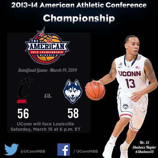 Final: #UConn 58, Cincinnati 56. The Huskies advance to face Louisville in the Championship Game tomorrow at 6 p.m. http://t.co/Iay7CZgJSH