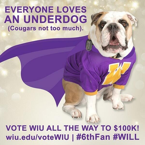 Let's go #WIU! Only a few more days to prove the underdog can come out on TOP! #6thFan #WILL http://t.co/oMcPU1UI6D