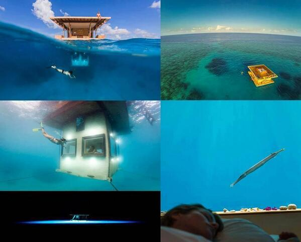 Underwater hotel room, Manta Resort On the island of Pemba. http://t.co/oQRgdld1ZI
