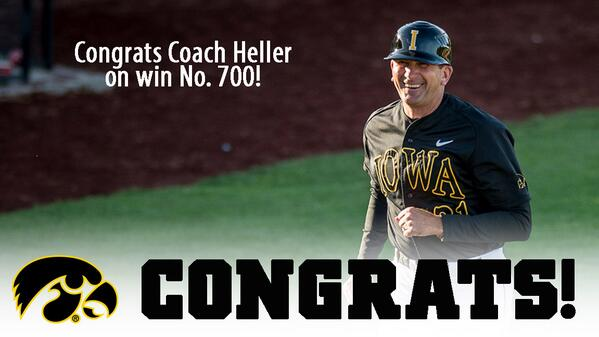 Iowa Baseball (@UIBaseball): Congrats to UI head coach Rick Heller for posting his 700th career victory in the #Hawkeyes 13-1 win over G'town! http://t.co/93eCYadxBg