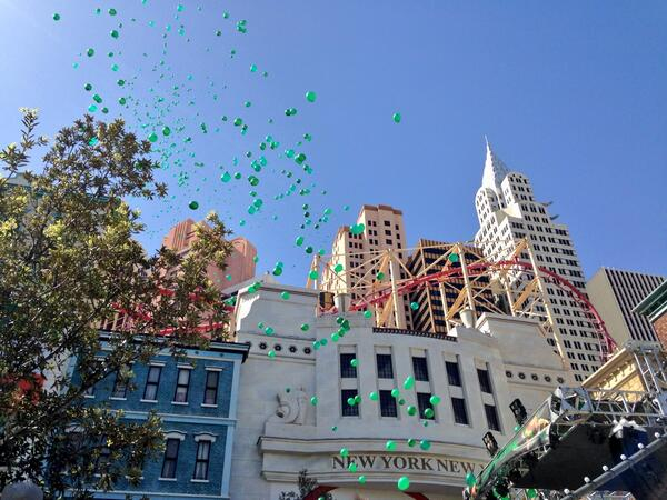 Exciting day @NYNYVegas if u see a green balloon floating over the strip - you know where it came from! #vegas http://t.co/LVA4DFNcFv