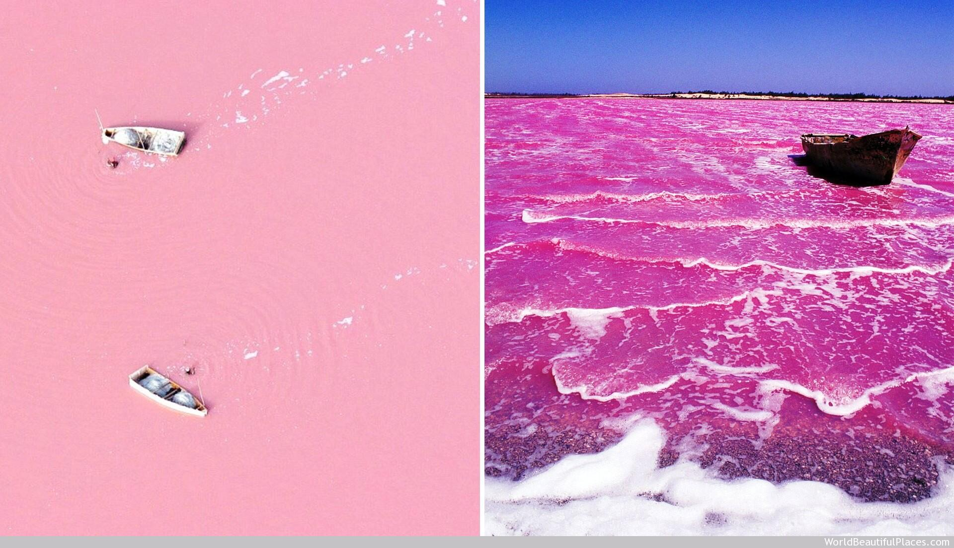 A natural pink colored lake named 'Lac Rose' actually exists and its located in Senegal, West Africa. http://t.co/rVhQrjFNFH