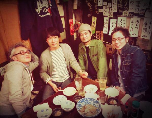 春フェスへ向けてのリハーサルでした。終わりに美味しいお店へ。 写真は左から中森泰弘さん、HARCOさん、堀込泰行さん、イトケンマーキュリーさん。 因みに春フェス、東京ももうあと僅かだそうです。 ご連絡まだでしたらお早めに! http://t.co/bUnmxiV9ps