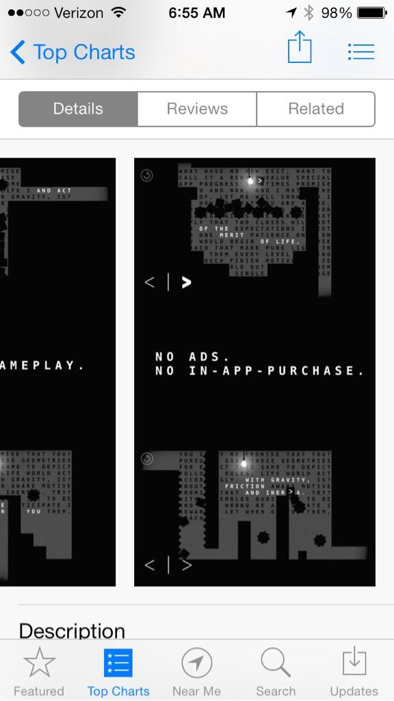 """I hope this becomes an app marketing trend. The game Sometimes You Die uses """"no ads, no IAP"""" as a selling point: http://t.co/iTF7iefUtf"""