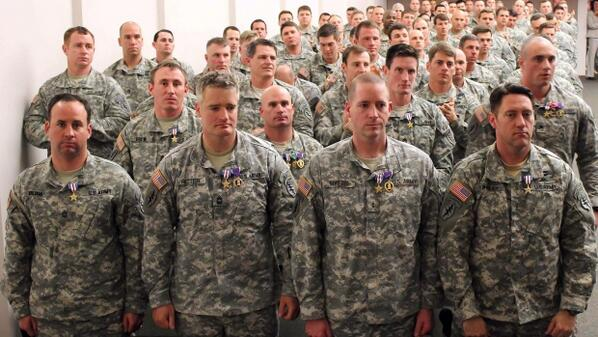 8 Silver Stars, 27 Bronze Stars w/Valor, 36 Army Commendation Medals w/Valor, 27 Purple Hearts http://t.co/60X2V3d5o0 http://t.co/s3vlYlnc3i