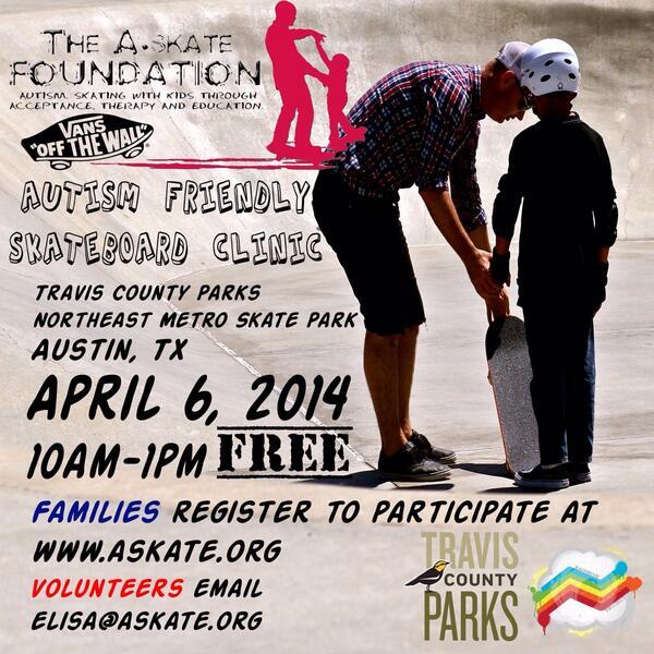 @autismatx PLEASE SPREAD THE WORD!!! Free #AUTISM skate clinic APRIL 6th!! Registration is open NOW! http://t.co/R5PZsgaG55