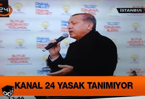 Kanal 24 seçim yasaklarını tanımadı. Erdoğan'ın mitingini yayınladı... http://t.co/AdOxTECpsH http://t.co/gS52O55VmM