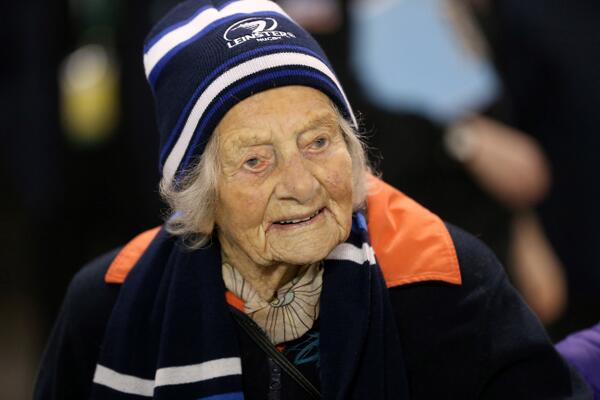 Pro12: Leinster fan Doris Findlater (104) watches her team take on Munster. #LeiMun http://t.co/LQHuuVLdMO