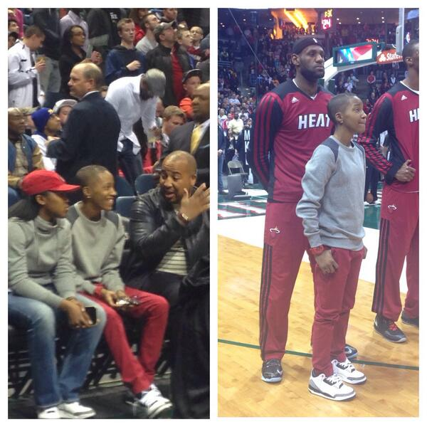 Verona High School's Ebony Nettles-Bay gets to sit on the  Heat bench and lineup with her hero LeBron James. #MILvMIA http://t.co/foWEHJw8pc
