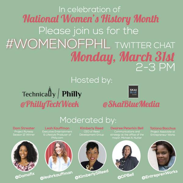 Excited for #womenofphl twtr chat w/ @SkaiBlueMedia @TechnicallyPHL @Domofix @KimberlySReed @DPBell @EntreprenWorks! http://t.co/47avW2Nkct