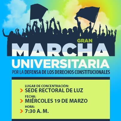 LUZ convoca a una Gran Marcha Universitaria este 19 de marzo de 2014 http://t.co/5jfA2Ef9ES --> http://t.co/jldJhHIUpV